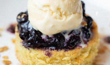 Almond Cake with Blueberry Compote